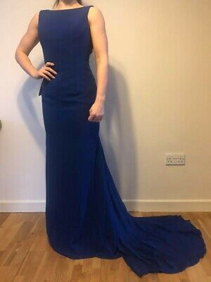 DIY Fashion Cobalt Blue Evening Ball Gown 8 Embelleshed low back, bow and train