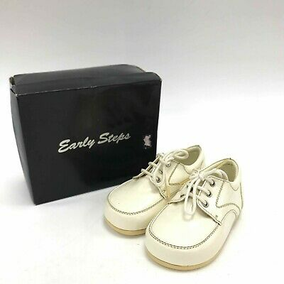 EARLY STEPS Ivory Cream Laced Infant Shoes Children Patent UK3 EU19 TH411386