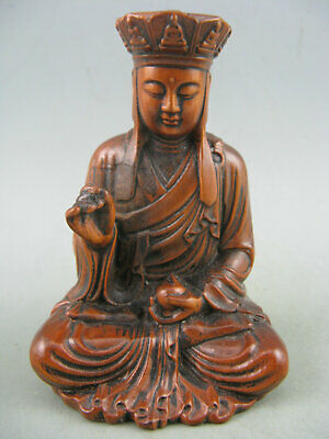 Antique Chinese Old Boxwood Hand Carved Tang Monk Buddha Statue