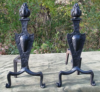 Vintage Art & Crafts Art Deco Flame Top Scroll Feet Iron Andirons Fireplace