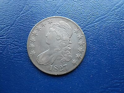 1827 sq base 2 capped bust half dollar
