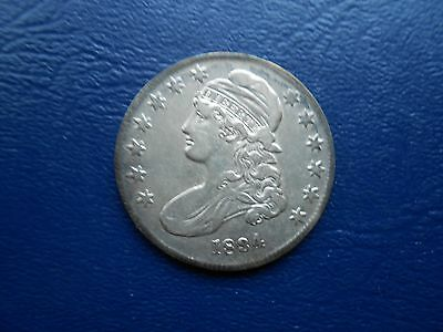 1834 sm date,stars,letters capped bust half dollar