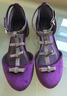Next Girls Shoes 1 Purple Silver Velvet Bow Party Occasion Worn Once Immaculate