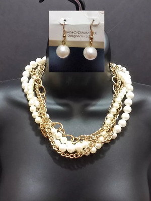 Gold White Faux Pearl Beaded Multi Layered Chain Twist Braided Necklace Seed SET