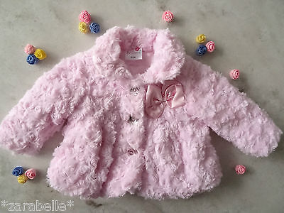 Baby Girls Pink Soft Deluxe Rosebud Jacket Satin Lined Bow Size 6 mths