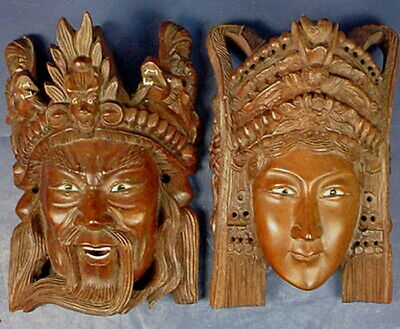 Pair Indonesian Balinese Carved Wooden Hindu Male & Female Deity Spirit Masks