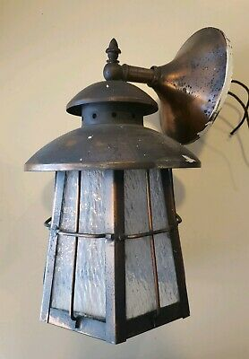 Antique Vintage Japanned Copper Porch Wall Sconce Crackle Glass Tudor Gothic