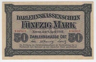 50 mark German occupation of Lithuania Kowno 1918 UNC P: R132 [AH712]