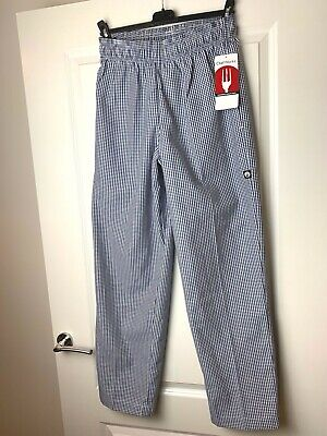 Chefs Trousers BLUE Check | Size SMALL | Chef Works Unisex Easyfit