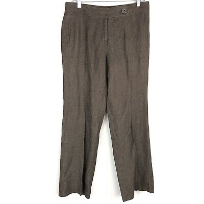 J Jill Womens Linen Blend Career Pants Trousers Size 10 Flat Front Creased Brown