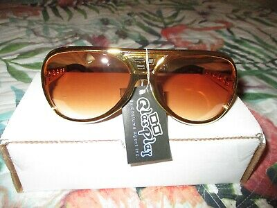 Elvis Presley Gold Sunglasses with Metal Arms  E P+ TCB Logo's