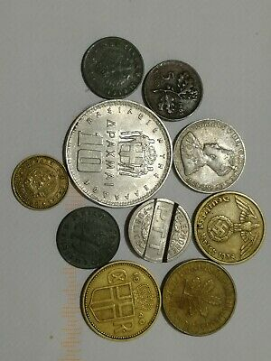 Small Selection of old world coins plus interesting French telephone token