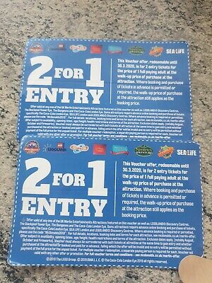 2 x 2 FOR 1 TICKET ENTRY ALTON TOWERS THORPE PARK SEA LIFE LEGOLAND CHESSINGTON