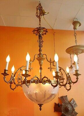 Antique 1920's Art Nouveau French Bronze Chandelier with Cut Crystal Center.