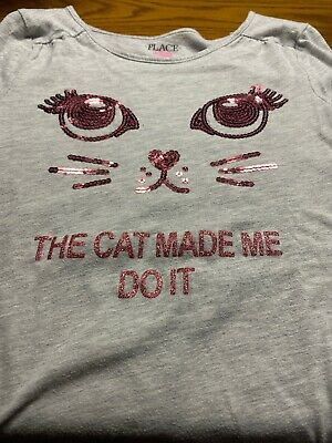 Girls Top Sz 10-12~The Childrens Place Pink W/Sequin Cat Face
