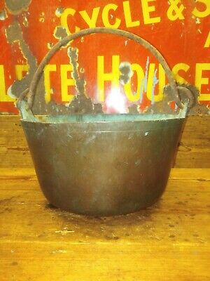 Antique Large Heavy Cooking Brass Copper Cauldron - Very Heavy. Good condition