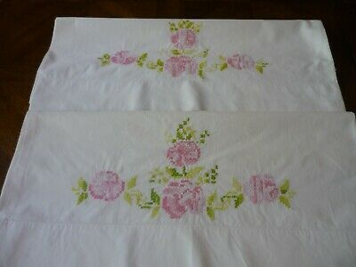 """Vtg. Pink Floral Cross-Stitch on White Pillowcases  29 1/2"""" x 20 1/2"""" Cotton"""