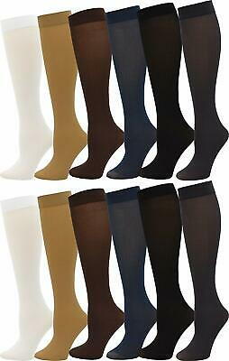 Women's Trouser Socks, Opaque Stretchy Nylon Knee High, Many Colors, 6 or 12 Pai