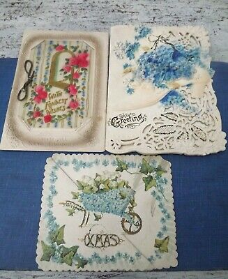 Victorian/Edwardian Lace Paper/Embossed & Velum Greetings Cards x 3