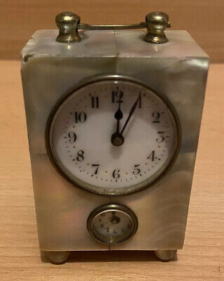 MINIATURE CARRIAGE CLOCK 3 x 2 inches. Mother of pearl.