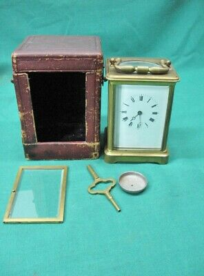 Antiqiue Brevete French Carriage Clock in a Brass Case by Retailed by Caldwell
