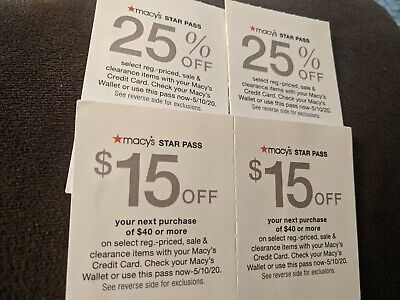 Macy's Star Pass Offer/ Coupons $15off $40 , 25% off exp.5/10/2020, 4 coupons