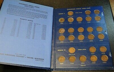 Canada Small Cent Collection from 1920 to 1963, 46 Coins Total in One Lot