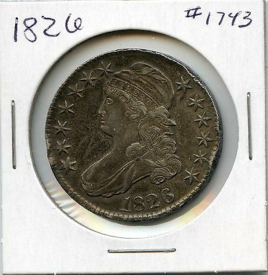 1826 50C Capped Bust Silver Half Dollar. Circulated. Lot #1434