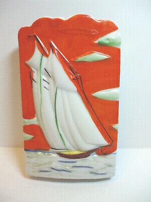 Vintage Wall Pocket Orange White Blue Sailboat Boat Ocean Made In Japan 64211