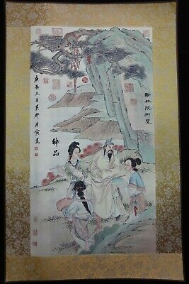 "Large Chinese Paper Painting Beautiful Landscape and Figures ""TangYin"" Marks"