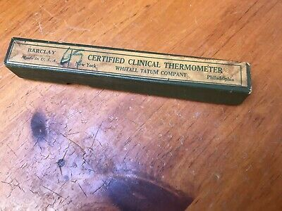 Early Whitall Tatum Glass Thermometer Plus Advertising Box Antique Nice!!