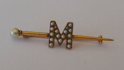 Beautiful Antique Victorian 15ct yellow gold seedpearl letter M brooch, 2.62 gms