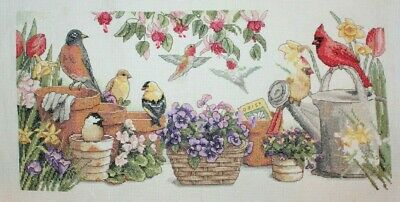"Sunset ""Garden Friends"" Birds Flowers Cross Stitch Partially Completed Finished"