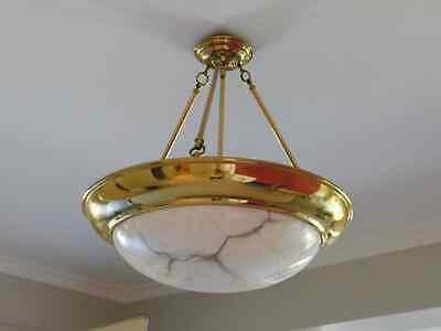 PENDANT LIGHT - Alabaster shade, Cream and Gold now removed, 12p