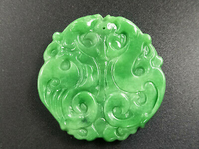 Delicate Chinese natural Hand-carved Jadeite jade green Double Beast pendant
