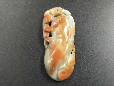 Delicate Chinese natural Hand-carved Jadeite jade green Red blessing pendant