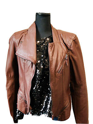 Blank Nyc Faux Leather Jacket Womens Size Large Moto Detail Burgundy Zippers