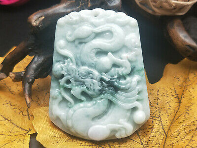 100% Chinese Delicate and natural Hand-carved Jadeite jade color Dragon pendant