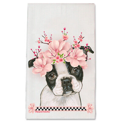 Boston Terrier Dog Floral Kitchen Dish Towel Pet Gift