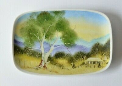 Vintage Hand Painted Pottery Dish By Jan Finch Canberra 1983