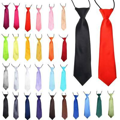 Boys Kids Children Elasticated Tied Satin Neck Ties Wedding/Party Tie 30 Colors