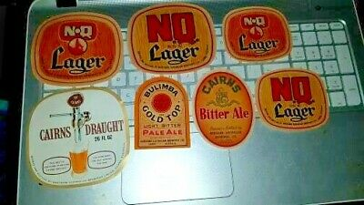 7 of different CAIRNS BEER LABELS vintage BULIMBA DRAUGHT NQ LAGER Qld