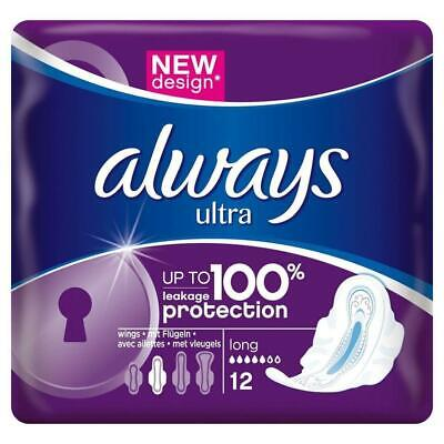 Always Ultra Long Protection Sanitary Pads With Wings Menstrual Cycle X12