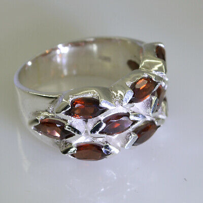 indian 925 Sterling Silver gorgeous genuine Red Ring Garnet Gift UK