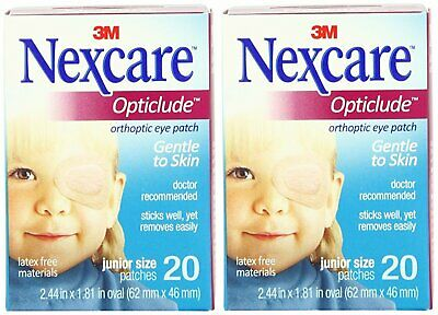 """3M 1537 Nexcare Opticlude Orthoptic Eye Patch Junior 2.44""""x1.8"""" (2 Boxes of 20)"""