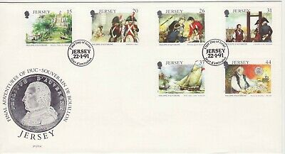 GB Stamps First Day Cover Jersey Philippe D'Auvergne, Navy, Napoleon, ship 1991