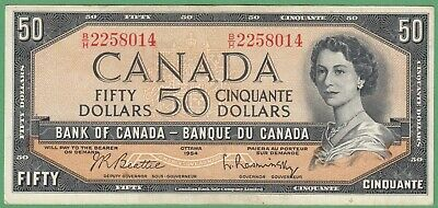 1954 Bank of Canada $50 Dollar Note - Beattie/Rasminsky - B/H2258014 - EF