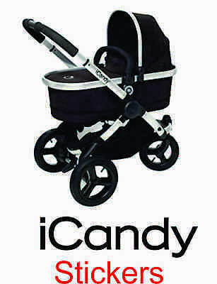 2x WHITE new logo REPLACEMENT iCandy vinyl stickers i Candy pram buggy chassi