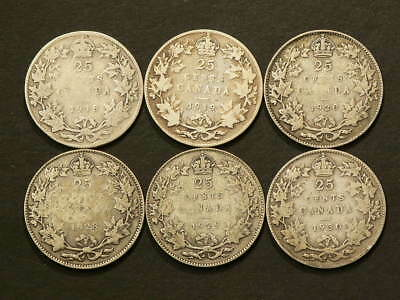 1918 1919 1920 1928 1929 1930 Canada 25 Cents Lot of 6 #1467