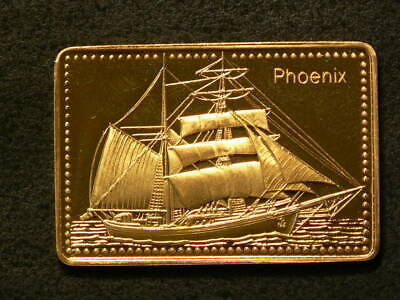Phoenix of the USA Tall Ship Gold Plated Silver Stamp 99.99% #5490